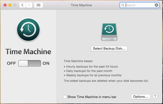 Start to Take Backup in Time Machine on Mac OS X