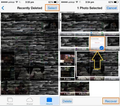 Restore or save deleted photos in iPhone
