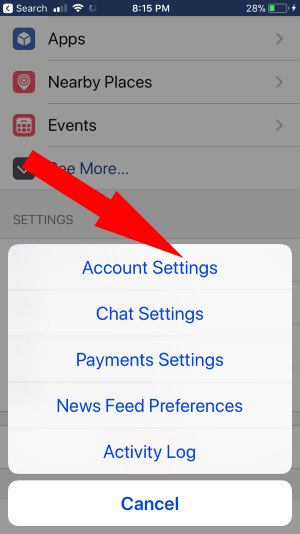 5 Account settings on iPhone Facebook app