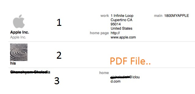 PDF file for Exported Contacts