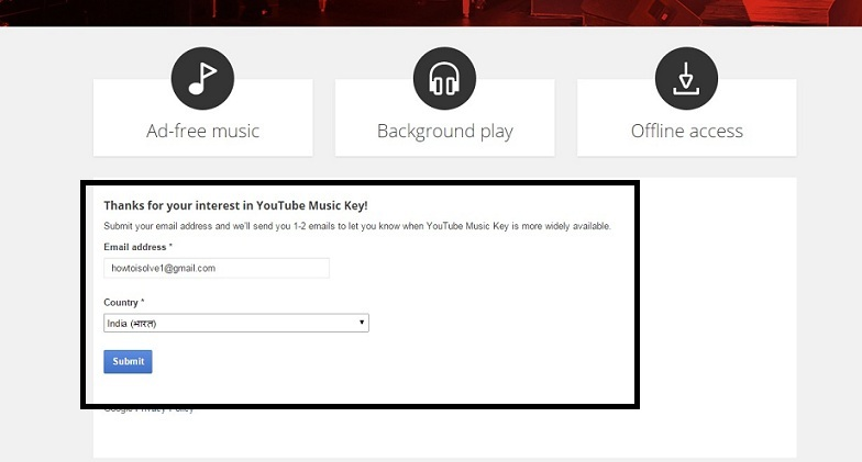 Send request for YouTube offline with Music Key