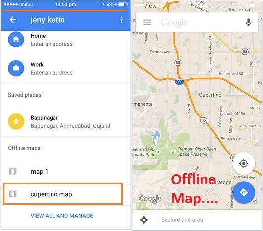 access Google map offline on iPhone and iPad