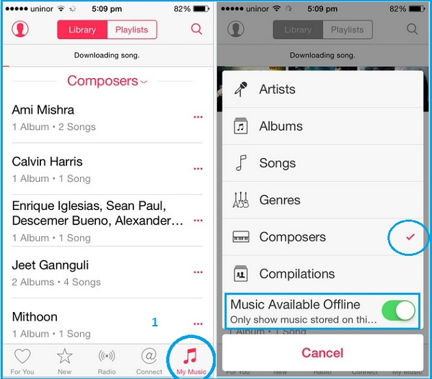 Filter out all offline song on device, iPhone, iPad