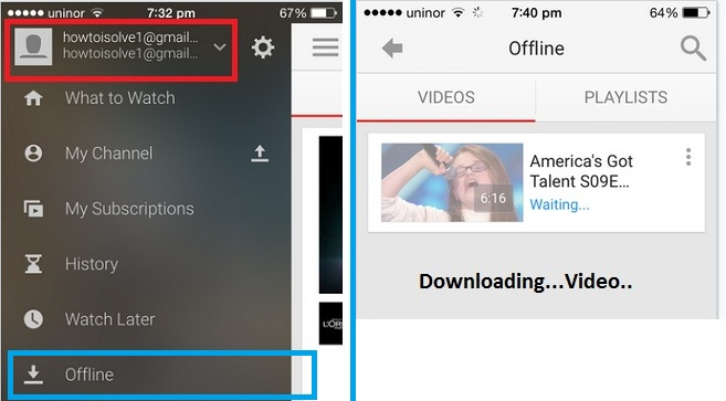 Find Downloaded youtube video in offline tab