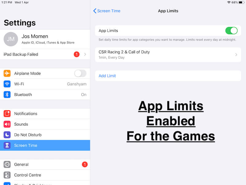 Add more games and app for App limits