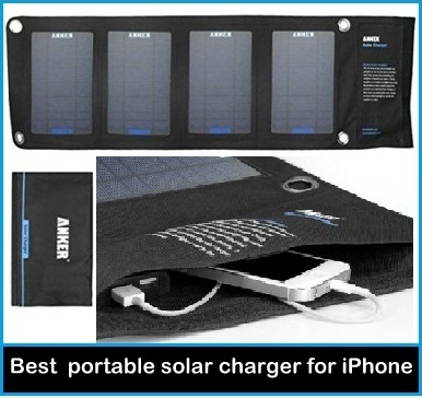 best Anker portable solar charger for iPhone: 14W Black