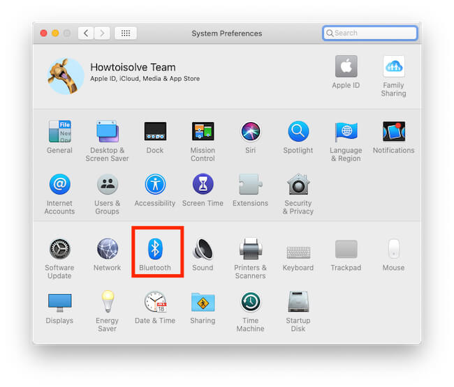Bluetooth Option on System Preferences on Mac