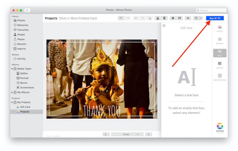 Buy Card from photos app on Mac