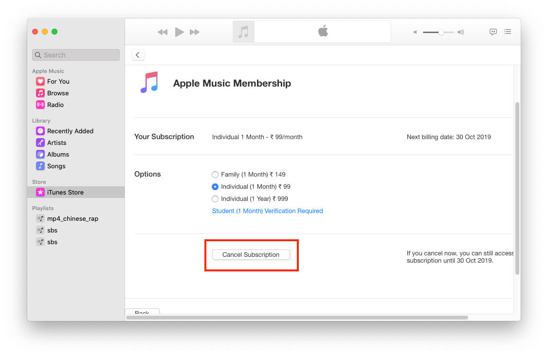 Cancel Apple Music Subscription plan on mac Music app