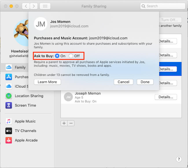 Enable Ask to buy on Mac from Family Sharing