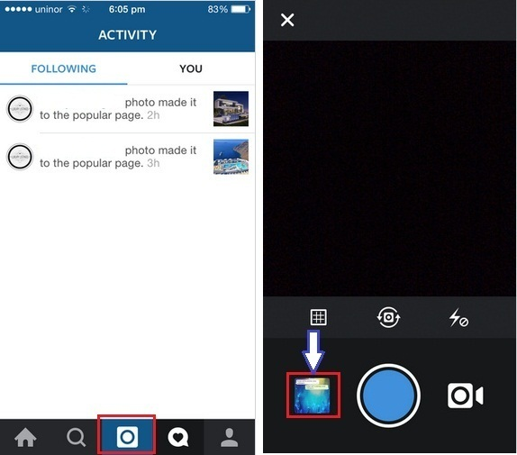 how to add or upload a picture to instagram from iPhone app