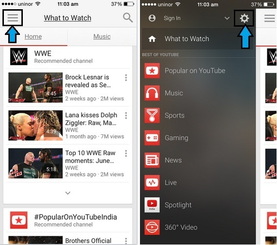 delete YouTube search history on iPhone, iPad app