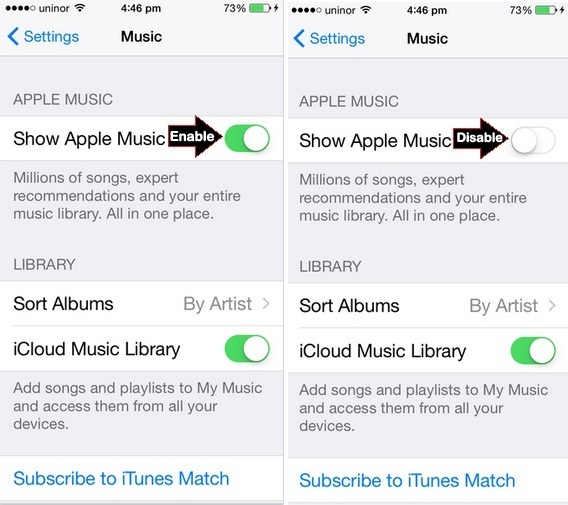 how to disable Apple music on iPhone Music App, iPad or iPod Touch