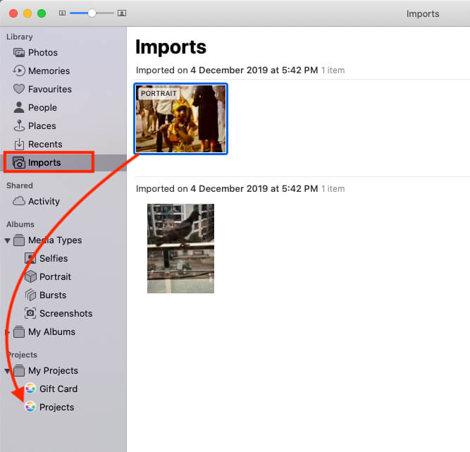 Import Photo from Mac to Project