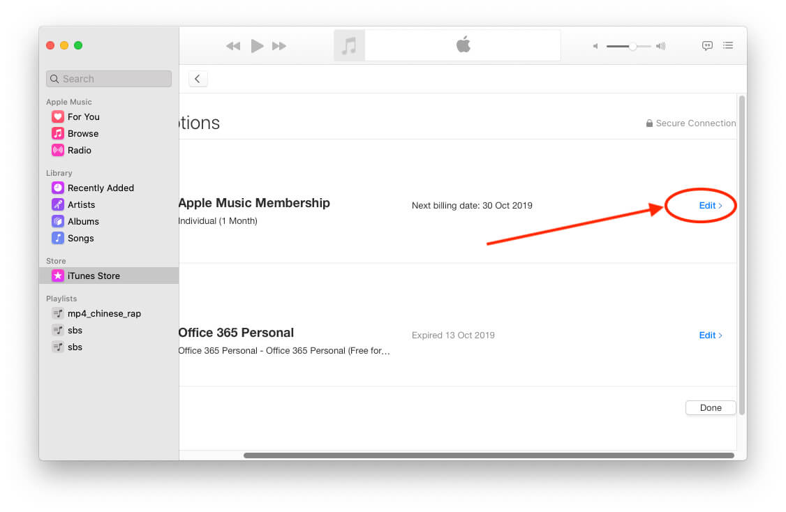 Manage Apple Music Membership on Mac Music app