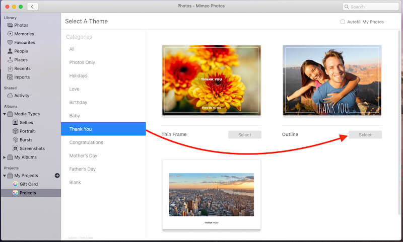 Select card Theme on Mac for Make a Card