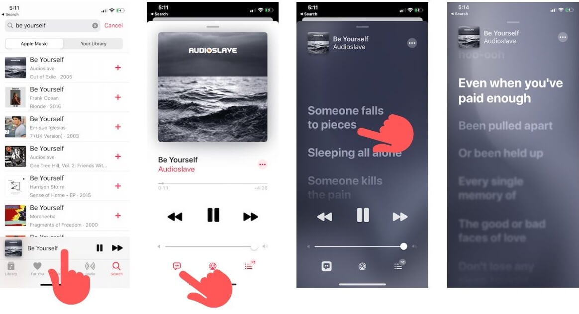 View lyrics on iPhone Apple Music app in iOS 13