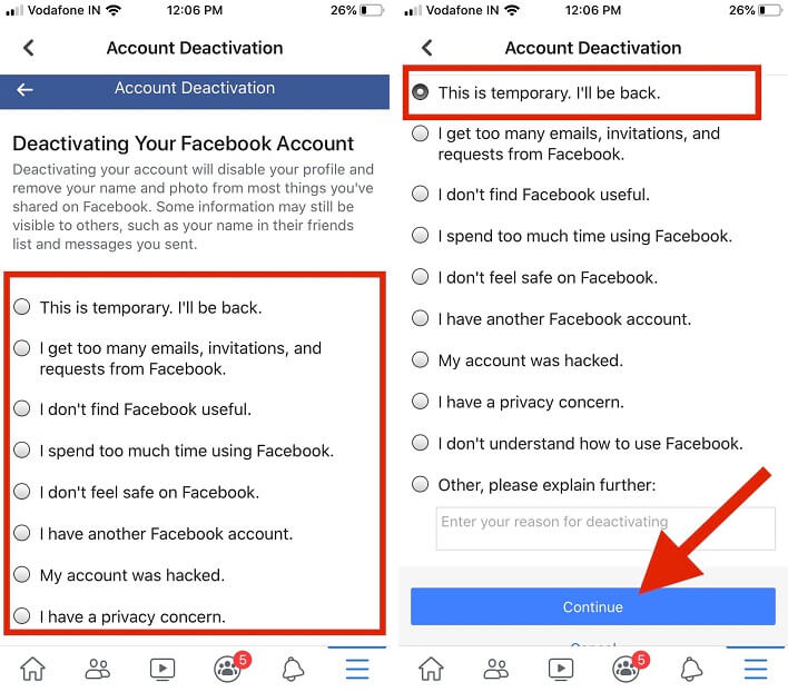 choose a reason and click on continue to next screen for delete Facebook account iPhone