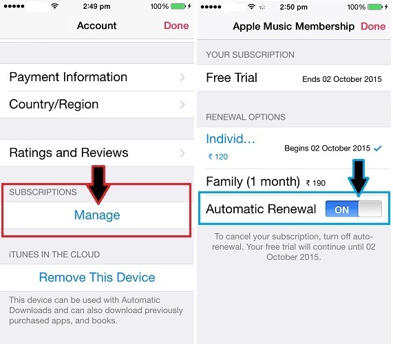 how to stop or disable Apple Music Auto renewal on iPod touch, iPhone 5S iPhone 4S