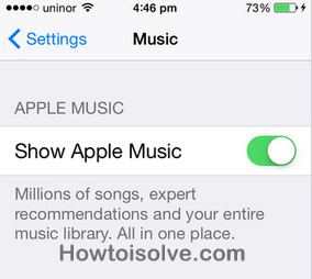 how to enable disable apple music in music app on iPhone, iPad , iPhone 6, 6 Plus , iPhone 5S,5,5C,4S
