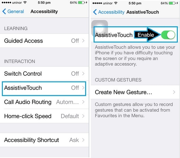 how to enable Assistive touch on iPhone 6, iPhone 6 Plus, iPhone 5S