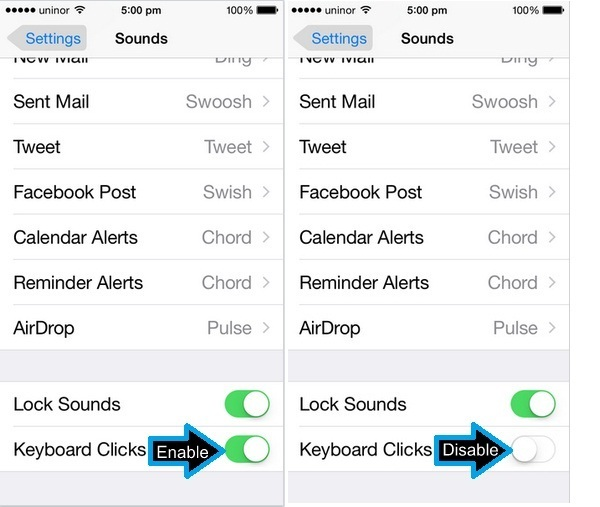 Scroll down screen and Turn Off toggle Keyboard Clicks on iphone 6, iphone 6Plus , iPhone 5