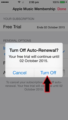 how to turn off, stop or disable Apple Music Auto renewal on iOS 8.4 iPhone, iPad, iPod Touch