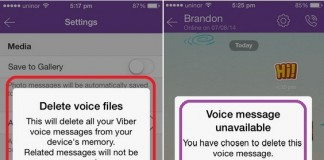 Steps on how to remove or delete voice message in Viber iPhone, iPad app