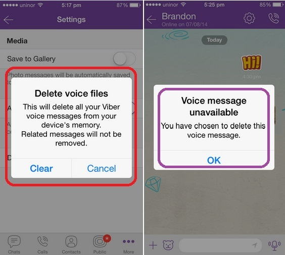 delete all messages iphone how to delete voice message in viber iphone ios 8 13947