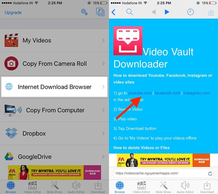 youtube video download on iPhone
