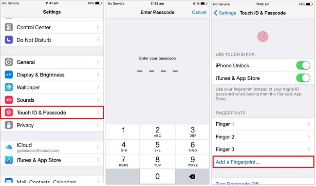 Add fingerprints in Touch ID for iPhone, iPad and iPod Touch