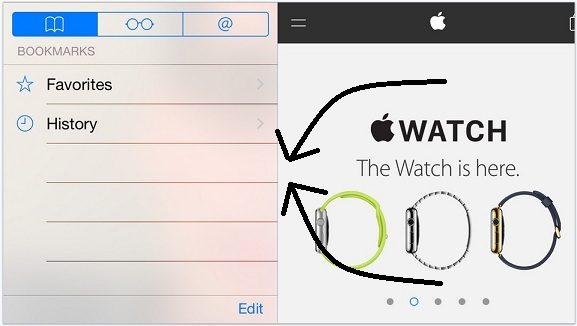 Hide Bookmark pane in safari landscape for iPhone, iPad