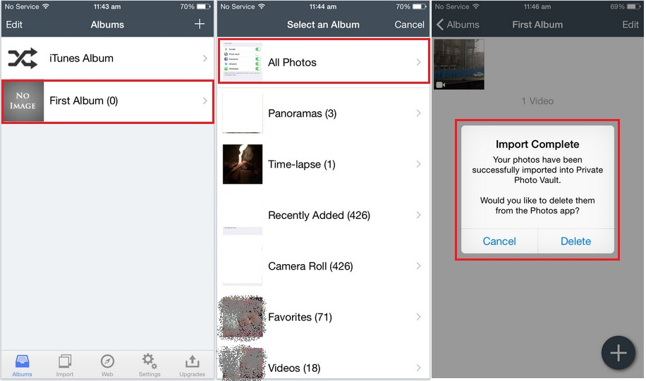 Hide pictures from camera roll in iOS device
