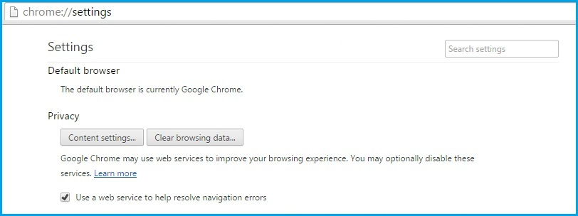 Content settings for Google chrome