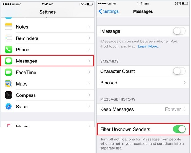 Turn Off iMessage for not saved contacts in iPhone with iOS 8