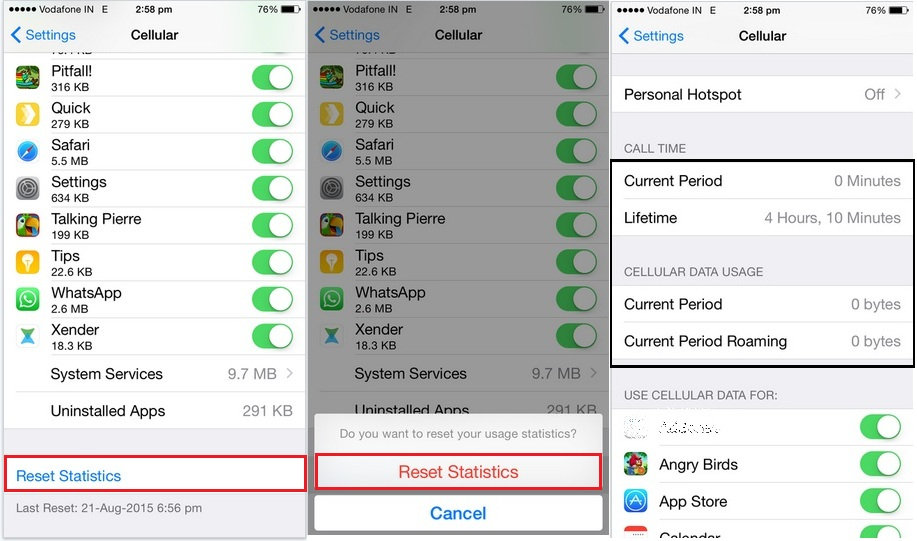 Reset all data used in your device