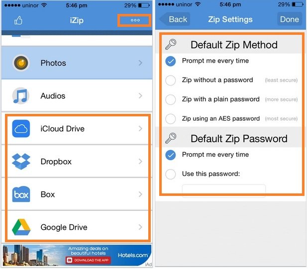 Access all file and Set zip file protection settings