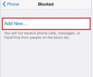 Add new contact in Block list
