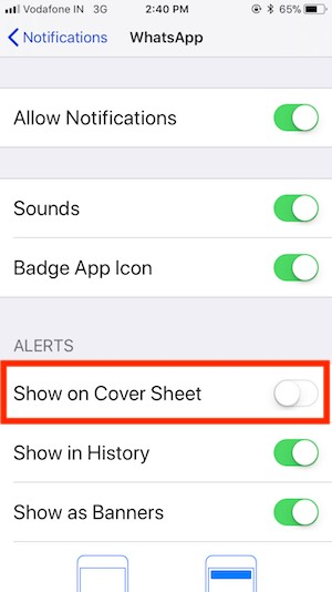 3 turn off or disable whatsApp notifications on cover sheet