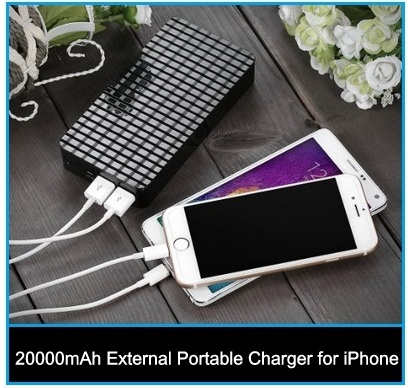 Amazing 20000mAh External Portable Charger for iPhone, iPad Air 2 and iPad Mini, iPod Touch 6th generation