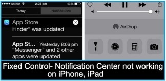 Fixed Control Center not working on iPhone, iPad, iOS 9, iOS 8