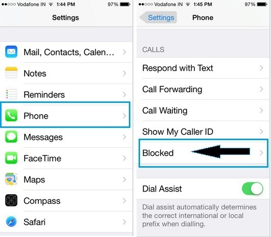 How to unblock a Contact on iPhone