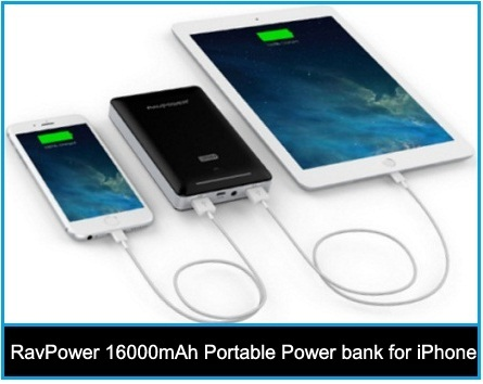 RavPower 16000mAh portable power bank for iPhone 6 Plus, iPad Air 3