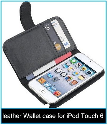 Cool designed leather Wallet case for iPod Touch 6th Gen