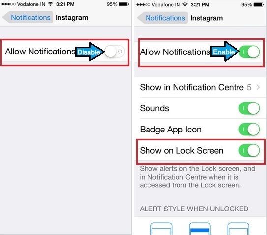 Follow these steps to turn on Instagram notification on iPhone 6, 6 Plus, iPad Air, iPad Mini, iPod