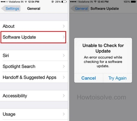 Know how to fix Unable to Check for Update iPhone software