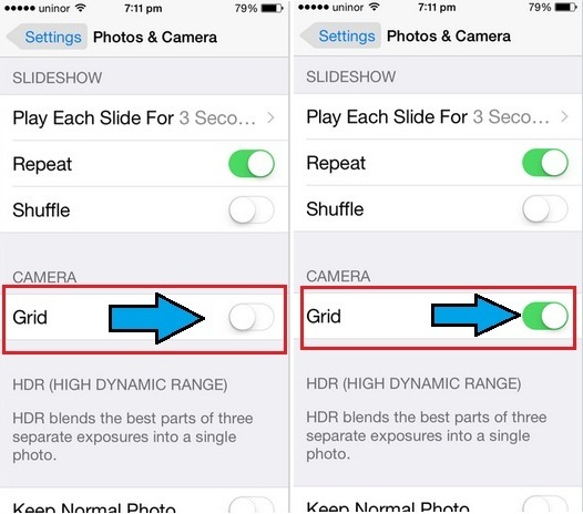 How to turn on Camera Grid on iPhone: iOS 8.4, iOS 9