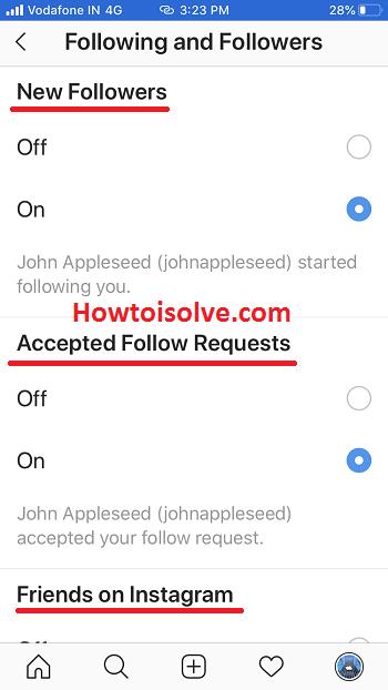 push-уведомления для instagram на iphone для новых подписчиков принято подписываться на запросы друзей в Instagram