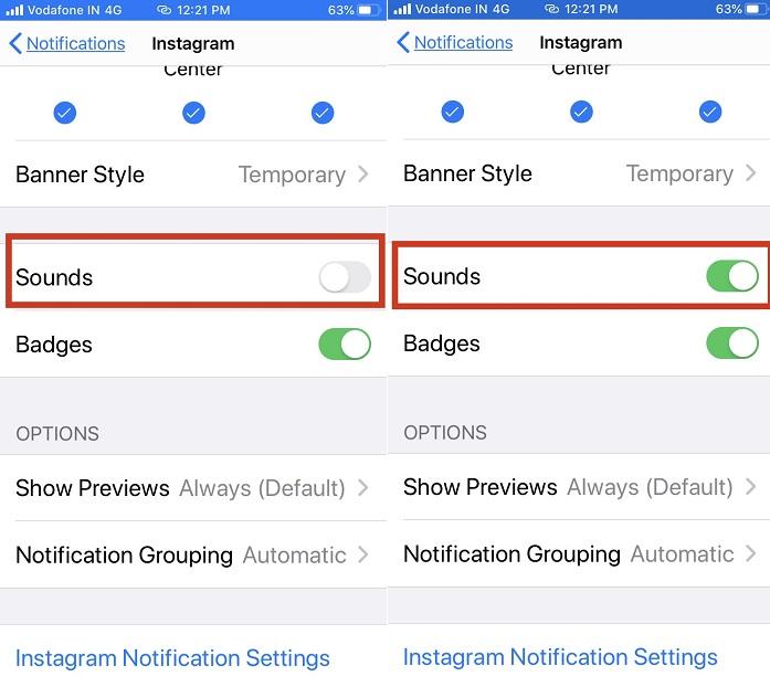 коснитесь «Звук» и включите звук уведомлений Instagram на iPhone.