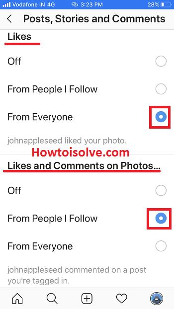 включить уведомления Instagram для лайков комментариев фото рассказы на iPhone